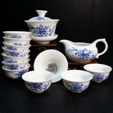 Набор для чайной церемонии из фарфора Синий пион