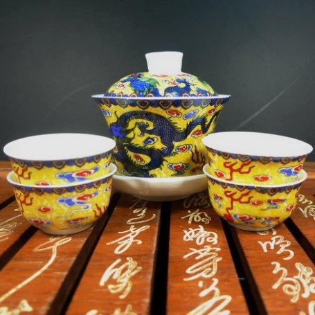 Набор для чайной церемонии из фарфора Синий дракон